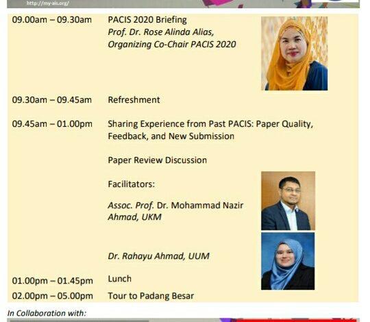 PACIS 2020 Publication Workshop at UUM